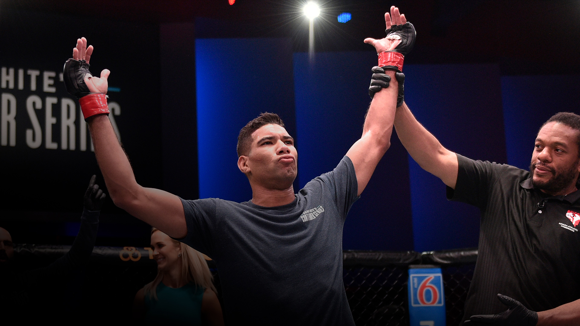 LAS VEGAS, NEVADA - AUGUST 06: Herbert Burns celebrates after his victory over Darrick Minner in their featherweight bout during week seven of Dana White's Contender Series on August 06, 2019 in Las Vegas, Nevada. (Photo by Chris Unger/DWCS LLC/Zuffa LLC)