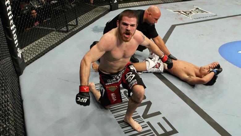 UFC 124: Jim Miller celebrates his win.