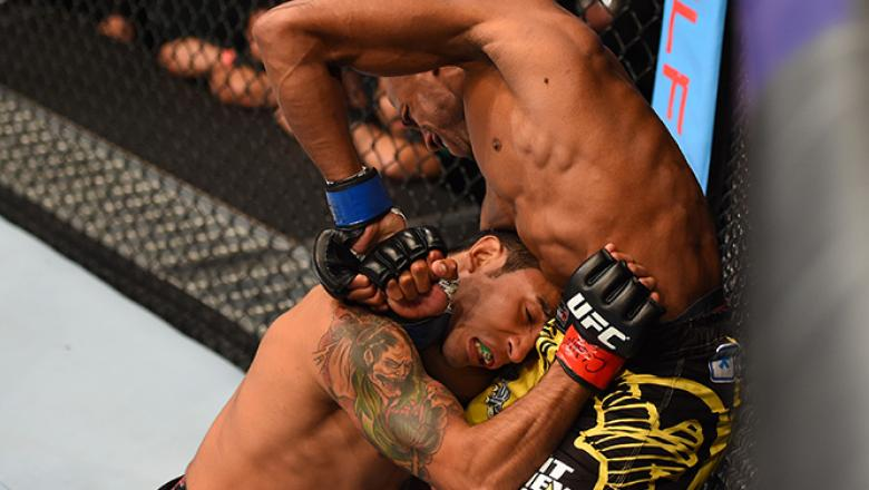 MEXICO CITY, MEXICO - JUNE 13:  Patrick Williams of the United States attempts to submit Alejandro Perez of Mexico in their bantamweight bout during the UFC 188 event at the Arena Ciudad de Mexico on June 13, 2015 in Mexico City, Mexico. (Photo by Josh He