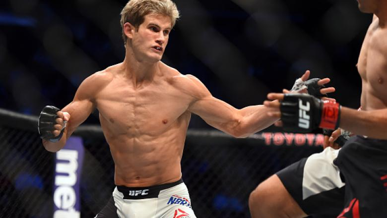HOUSTON, TX - OCTOBER 03:  (L-R) Sage Northcutt looks to attack Francisco Trevino in their lightweight bout during the UFC 192 event at the Toyota Center on October 3, 2015 in Houston, Texas. (Photo by Jeff Bottari/Zuffa LLC/Zuffa LLC via Getty Images)