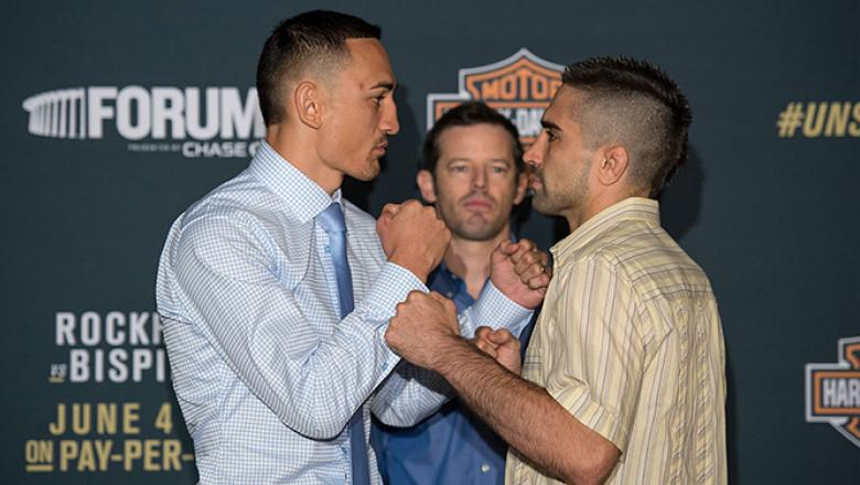 INGLEWOOD, CA - JUNE 02:   (L-R) Max Holloway and Ricardo Lamas face off during the UFC 199: Ultimate Media Day at the Forum on June 2, 2016 in Inglewood, California. (Photo by Brandon Magnus/Zuffa LLC/Zuffa LLC via Getty Images)