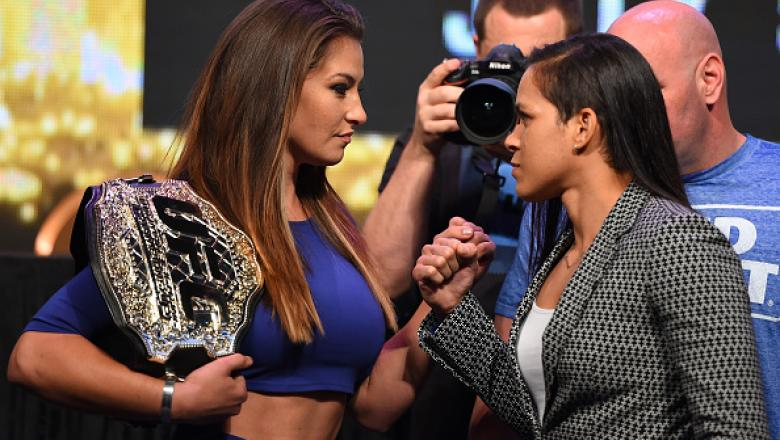 LAS VEGAS, NV - APRIL 20:   (L-R) Opponents Miesha Tate and Amanda Nunes of Brazil face off during the UFC 200 press conference at the MGM Grand Garden Arena on April 20, 2016 in Las Vegas, Nevada. (Photo by Josh Hedges/Zuffa LLC/Zuffa LLC via Getty Image