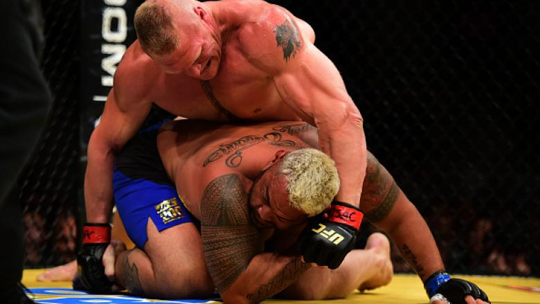LAS VEGAS, NV - JULY 09: Brock Lesnar (top) punches Mark Hunt of New Zealand in their heavyweight bout during the UFC 200 event on July 9, 2016 at T-Mobile Arena in Las Vegas, Nevada.  (Photo by Harry How/Zuffa LLC/Zuffa LLC via Getty Images)