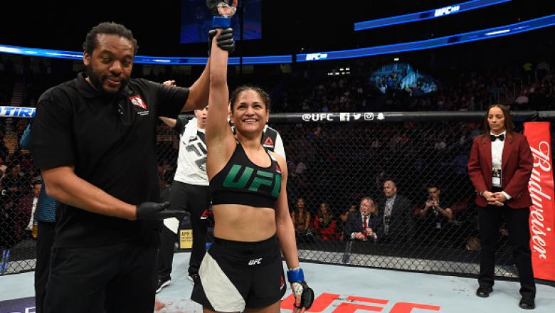 LAS VEGAS, NV - MARCH 04:  Cynthia Calvillo reacts to her victory over Amanda Cooper in their women's strawweight bout during the UFC 209 event at T-Mobile Arena on March 4, 2017 in Las Vegas, Nevada.  (Photo by Josh Hedges/Zuffa LLC/Zuffa LLC via Getty I