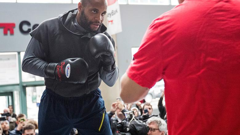 BUFFALO, NY - APRIL 06: UFC Light Heavyweight Champion Daniel Cormier holds an open workout for fans and media at the KeyBank Center on April 6, 2017 in Buffalo, New York. (Photo by Kevin Hoffman/Zuffa LLC/Zuffa LLC via Getty Images)