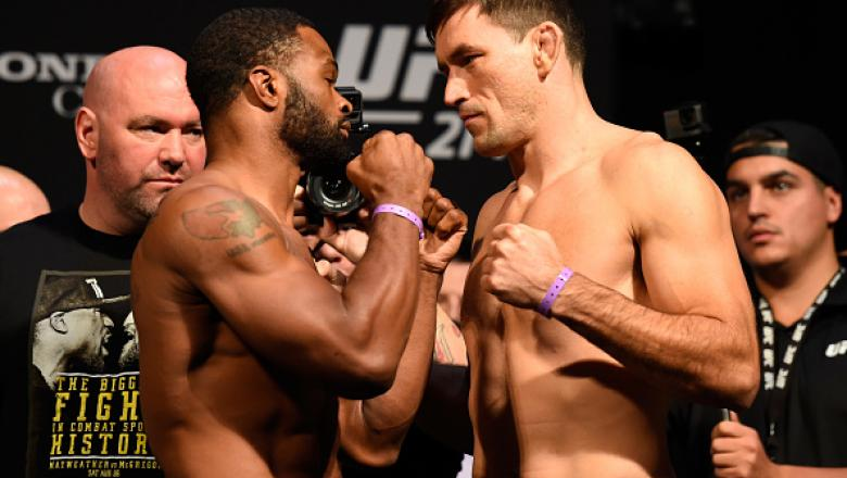 ANAHEIM, CA - JULY 28:   (L-R) Tyron Woodley and Demian Maia of Brazil face off during the UFC 214 weigh-in inside the Honda Center on July 28, 2017 in Anaheim, California. (Photo by Josh Hedges/Zuffa LLC/Zuffa LLC via Getty Images)