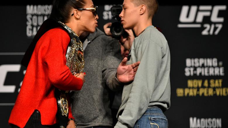 NEW YORK, NY - NOVEMBER 02:  (L-R) Opponents Joanna Jedrzejczyk of Poland and Rose Namajunas face off during the UFC 217 Press Conference inside Madison Square Garden on November 2, 2017 in New York City. (Photo by Jeff Bottari/Zuffa LLC/Zuffa LLC via Get