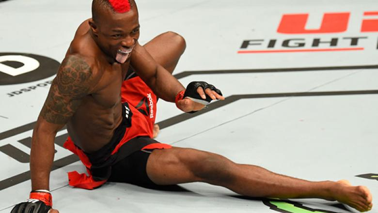 Marc Diakiese celebrates his knockout victory over Teemu Packalen during the UFC Fight Night event at The O2 arena on March 18, 2017 in London, England. (Photo by Josh Hedges/Zuffa LLC)