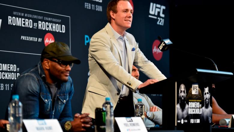 PERTH, AUSTRALIA - FEBRUARY 07:  UFC Senior Vice President, International and Content David Shaw delivers an introduction speech to media during the UFC 221 Press Conference at Perth Arena on February 7, 2018 in Perth, Australia. (Photo by Jeff Bottari/Zu
