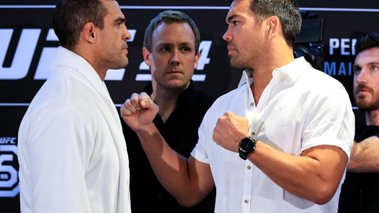 RIO DE JANEIRO, BRAZIL - MAY 10: UFC middleweight fighters Vitor Belfort (L) of Brazil and Lyoto Machida of Brazil face off during Ultimate Media Day on May 10, 2018 in Rio de Janeiro, Brazil. (Photo by Buda Mendes/Zuffa LLC/Zuffa LLC via Getty Images)