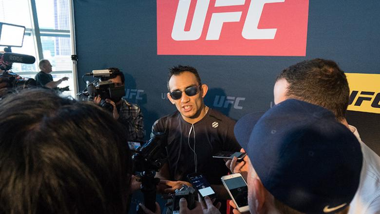 Tony Ferguson speaks to the media during the UFC 209 Ultimate Media Day inside TMobile Arena on March 2, 2017 in Las Vegas, Nevada. (Photo by Brandon Magnus/Zuffa LLC)