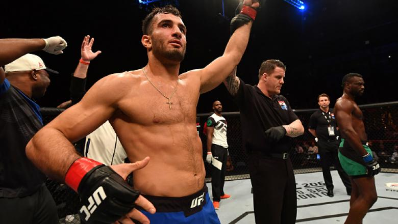 BELFAST, NORTHERN IRELAND - NOVEMBER 19:  Gegard Mousasi of Iran celebrates his TKO victory over Uriah Hall of Jamaica in their middleweight bout during the UFC Fight Night at the SSE Arena on November 19, 2016 in Belfast, Northern Ireland. (Photo by Bran