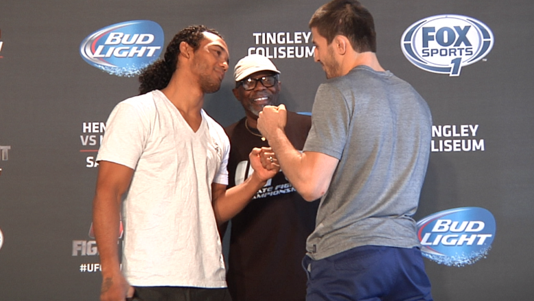 Benson Henderson and Rustam Khabilov face off
