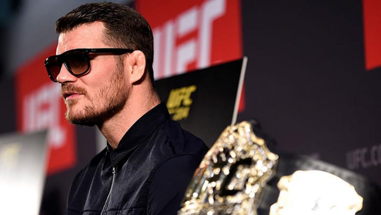 MANCHESTER, ENGLAND - OCTOBER 06:   Michael Bisping of England interacts with media during the UFC 204 Ultimate Media Day at Manchester Central, in Manchester, England. (Photo by Josh Hedges/Zuffa LLC/Zuffa LLC via Getty Images)