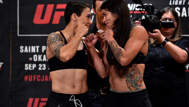 (R-L) Opponents Claudia Gadelha of Brazil and Jessica Andrade of Brazil face off during the UFC Fight Night Weigh-in at the Hilton Tokyo on September 21, 2017 in Tokyo, Japan. (Photo by Jeff Bottari/Zuffa LLC/Zuffa LLC via Getty Images)