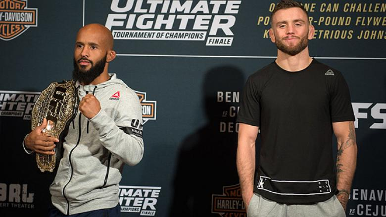 LAS VEGAS, NV - DECEMBER 01: (L-R) UFC flyweight champion Demetrious Johnson and TUF 24 winner Tim Elliott pose for a picture during the TUF Finale Ultimate Media Day in the Palms Resort & Casino on December 1, 2016 in Las Vegas, Nevada. (Photo by Brandon