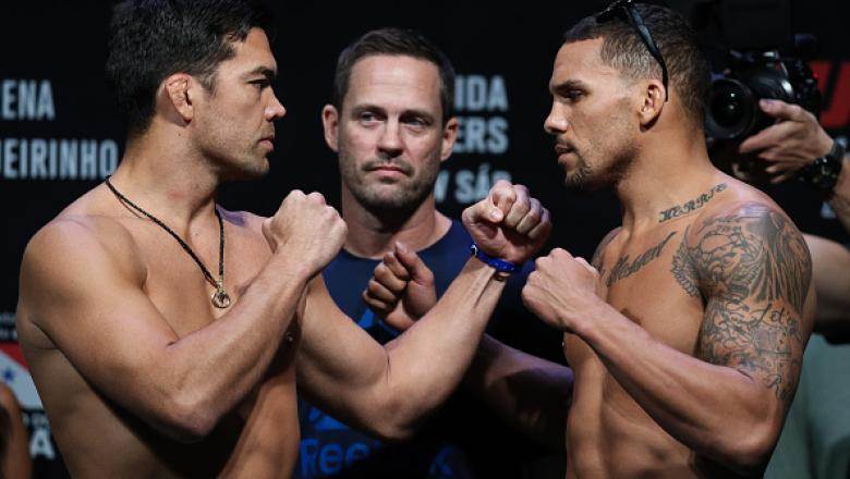 BELEM, BRAZIL - FEBRUARY 02: Opponents Lyoto Machida (L) of Brazil and Eryk Anders of the United States face off during the UFC Fight Night weigh-in at Mangueirinho Arena on February 02, 2018 in Belem, Brazil. (Photo by Buda Mendes/Zuffa LLC/Zuffa LLC via