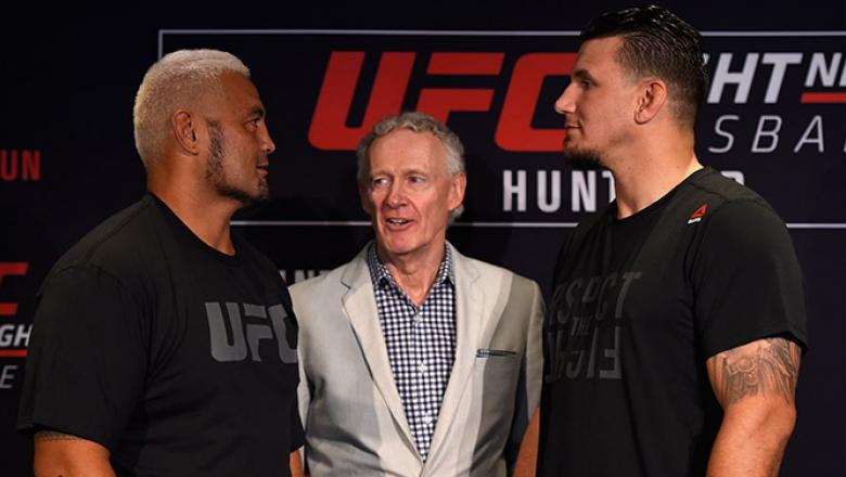 BRISBANE, AUSTRALIA - MARCH 18:   (L-R) Opponents Mark Hunt of New Zealand and Frank Mir face off during the UFC Ultimate Media Day at the Brisbane Marriott Hotel on March 18, 2016 in Brisbane, Australia. (Photo by Josh Hedges/Zuffa LLC/Zuffa LLC via Gett