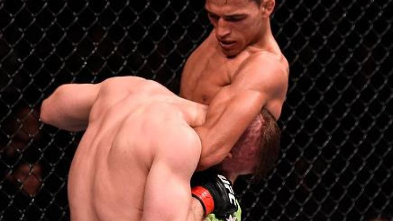 GOIANIA, BRAZIL - MAY 30: Charles Oliveira attempts to submit Nick Lentz of the United States in their featherweight UFC bout during the UFC Fight Night event at Arena Goiania on May 30, 2015 in Goiania, Brazil. (Photo by Buda Mendes/Zuffa LLC/Zuffa LLC v