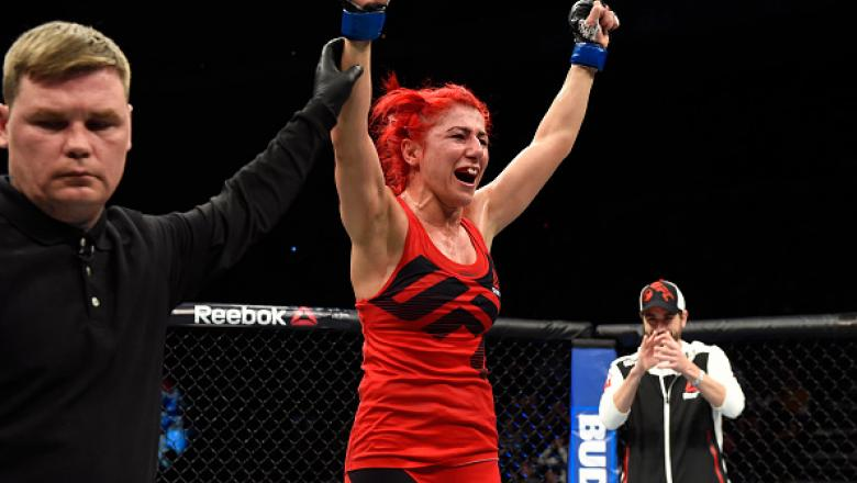 HALIFAX, NS - FEBRUARY 19:  Randa Markos of Iraq celebrates after defeating Carla Esparza in their women's strawweight fight during the UFC Fight Night event inside the Scotiabank Centre on February 19, 2017 in Halifax, Nova Scotia, Canada. (Photo by Josh