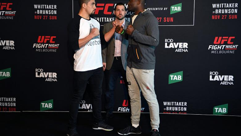 MELBOURNE, AUSTRALIA - NOVEMBER 25:  (L-R) Opponents Robert Whittaker of New Zealand and Derek Brunson of the United States face off during the UFC Fight Night Ultimate Media Day at the Melbourne Convention and Exhibition Centre on November 25, 2016 in Me