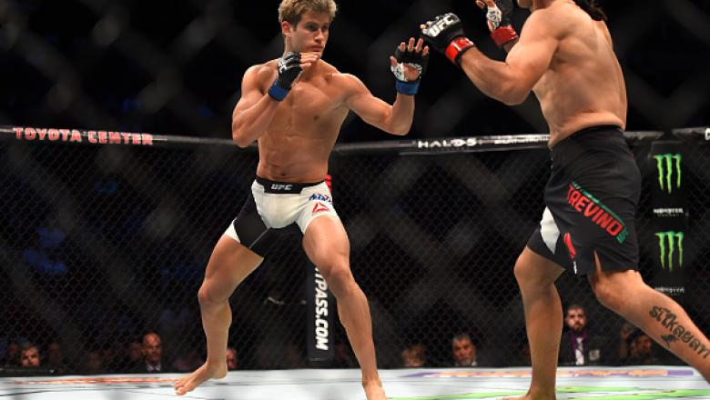 HOUSTON, TX - OCTOBER 03:  (L-R) Sage Northcutt faces Francisco Trevino in their lightweight bout during the UFC 192 event at the Toyota Center on October 3, 2015 in Houston, Texas. (Photo by Jeff Bottari/Zuffa LLC/Zuffa LLC via Getty Images)