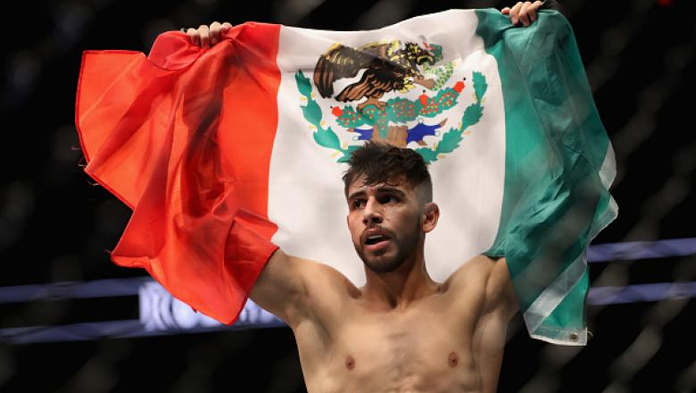 PHOENIX, AZ - JANUARY 15:  Yair Rodriguez celebrates his victory over BJ Penn (not pictured) during the UFC Fight Night event at the at Talking Stick Resort Arena on January 15, 2017 in Phoenix, Arizona.  (Photo by Christian Petersen/Getty Images)