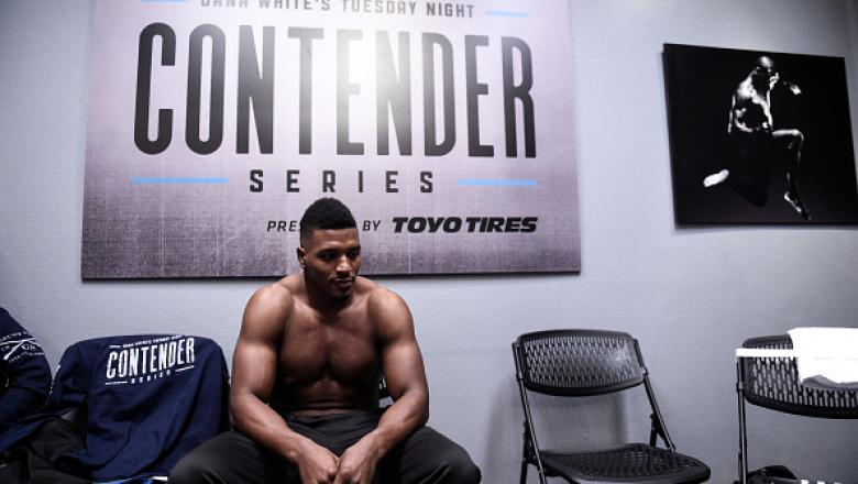 LAS VEGAS, NV - JULY 25:   Alonzo Menifield waits backstage before facing Daniel Jolly  in their light heavyweight bout during Dana White's Tuesday Night Contender Series at the TUF Gym on July 25, 2017 in Las Vegas, Nevada. (Photo by Brandon Magnus/DWTNC