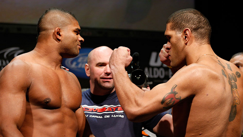 "LAS VEGAS, NV - FEBRUARY 01:  (L-R) Opponents Alistair Overeem and Antonio ""Bigfoot"" Silva face off during the UFC 156 weigh-in on February 1, 2013 at Mandalay Bay Events Center in Las Vegas, Nevada.  (Photo by Josh Hedges/Zuffa LLC/Zuffa LLC via Getty Im"