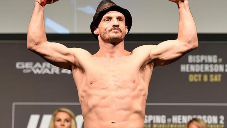MANCHESTER, ENGLAND - OCTOBER 07:  Brad Pickett steps onto the scale during the UFC 204 weigh-in at the Manchester Central Convention Complex on October 7, 2016 in Manchester, England. (Photo by Josh Hedges/Zuffa LLC/Zuffa LLC via Getty Images)