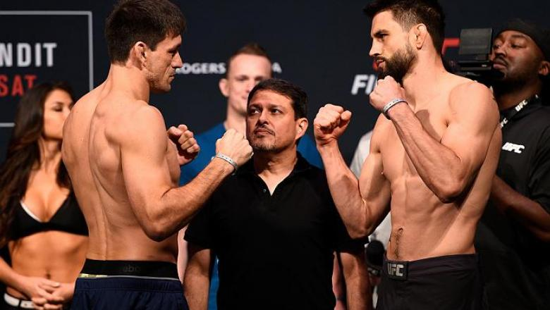 VANCOUVER, BC - AUGUST 26:  (L-R) Opponents Demian Maia of Brazil and Carlos Condit of the United States face off during the UFC Fight Night Weigh-in at Rogers Arena on August 26, 2016 in Vancouver, British Columbia, Canada. (Photo by Jeff Bottari/Zuffa L