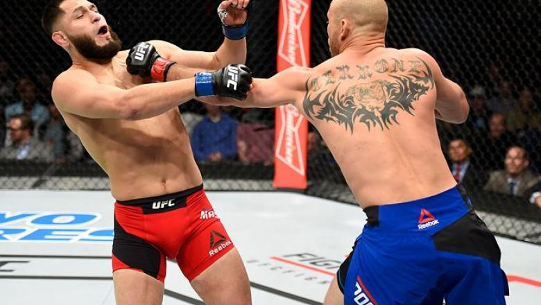 DENVER, CO - JANUARY 28:  (R-L) Donald Cerrone punches Jorge Masvidal in their welterweight bout during the UFC Fight Night event at the Pepsi Center on January 28, 2017 in Denver, Colorado. (Photo by Josh Hedges/Zuffa LLC/Zuffa LLC via Getty Images)