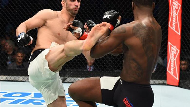 HOUSTON, TX - FEBRUARY 04:  (L-R) Volkan Oezdemir of Switzerland kicks Ovince Saint Preux in their light heavyweight bout during the UFC Fight Night event at the Toyota Center on February 4, 2017 in Houston, Texas. (Photo by Jeff Bottari/Zuffa LLC/Zuffa L