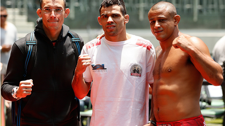 SAO PAULO, BRAZIL - DECEMBER 18:  Renan Barao (center) of Brazil poses for a photo with his teammates after an open training session for fans and media at Allianz Parque on December 18, 2014 in Sao Paulo, Brazil. (Photo by Josh Hedges/Zuffa LLC/Zuffa LLC