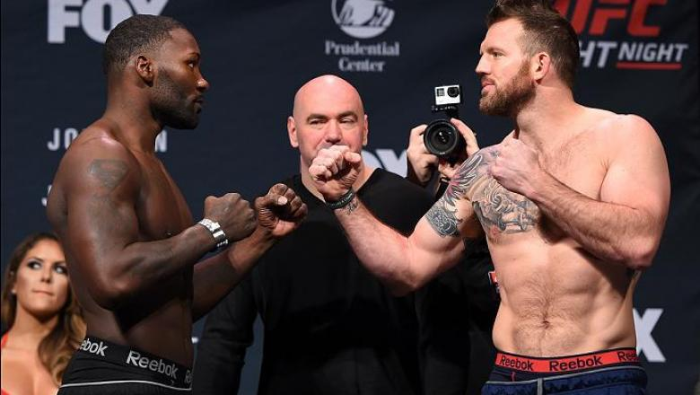 NEWARK, NJ - JANUARY 29:  (L-R) Opponents Anthony Johnson and Ryan Bader face off during the UFC Fight Night weigh-in at the Prudential Center on January 29, 2016 in Newark, New Jersey. (Photo by Josh Hedges/Zuffa LLC/Zuffa LLC via Getty Images)