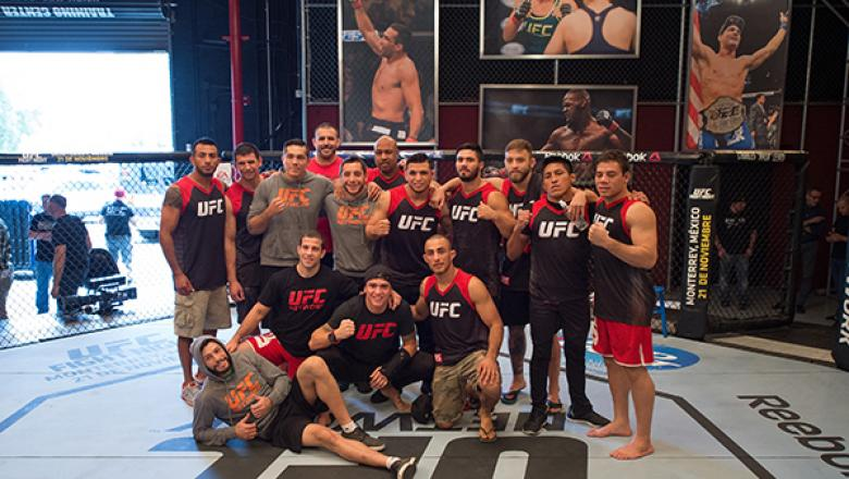 LAS VEGAS, NV - APRIL 22:  Team Escudero poses for a team photo after the semi-finals fight during the filming of The Ultimate Fighter Latin America: Team Gastelum vs Team Escudero on April 22, 2015 in Las Vegas, Nevada. (Photo by Brandon Magnus/Zuffa LLC