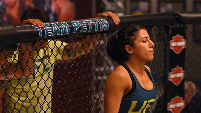 LAS VEGAS, NV - JULY 8:  Team Pettis fighter Randa Markos enters the Octagon before facing team Melendez fighter Tecia Torres during filming of season twenty of The Ultimate Fighter on July 8, 2014 in Las Vegas, Nevada. (Photo by Brandon Magnus/Zuffa LLC/