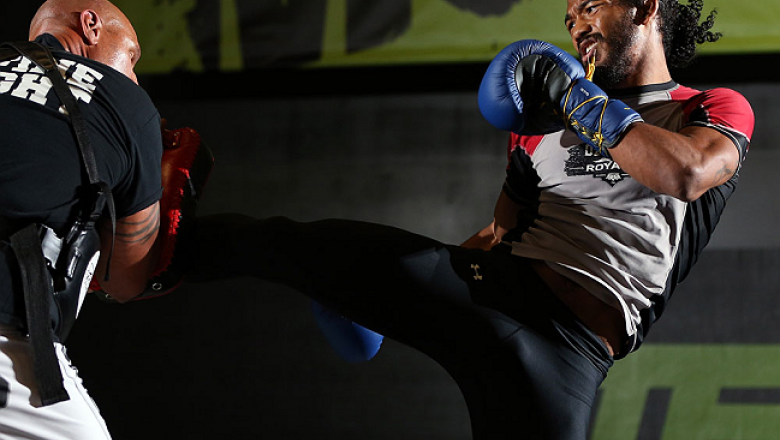 DENVER, CO - AUGUST 08:  Benson Henderson works out for the media during the UFC 150 open workouts at the Muscle Pharm Sports Science Center on August 8, 2012 in Denver, Colorado. (Photo by Josh Hedges/Zuffa LLC/Zuffa LLC via Getty Images)