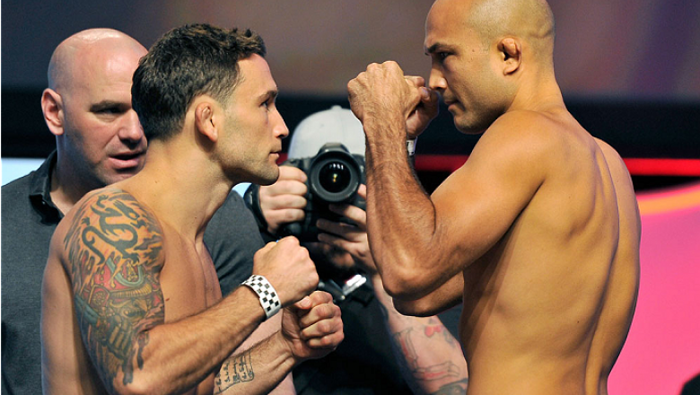 LAS VEGAS, NV - JULY 05:  Mixed martial artists Frankie Edgar (L) and BJ Penn face off during the TUF 19 Finale weigh-in at the Mandalay Bay Convention Center on July 5, 2014 in Las Vegas, Nevada.  (Photo by David Becker/Zuffa LLC/Zuffa LLC via Getty Imag