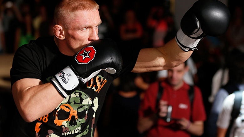 LAS VEGAS, NV - JULY 03:  Dennis Siver holds an open training session for media and fans inside XS The Nightclub at Encore Las Vegas on July 3, 2013 in Las Vegas, Nevada.  (Photo by Josh Hedges/Zuffa LLC/Zuffa LLC via Getty Images)