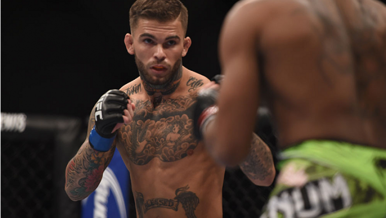 LAS VEGAS, NV - JANUARY 03:  (L) Cody Garbrandt squares off with Marcus Brimage  in their bantamweight bout during the UFC 182 event at the MGM Grand Garden Arena on January 3, 2015 in Las Vegas, Nevada.  (Photo by Jeff Bottari/Zuffa LLC/Zuffa LLC via Get