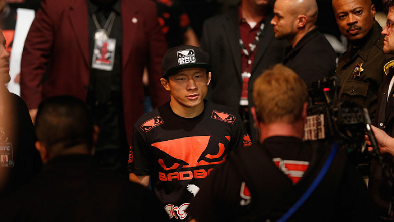 LAS VEGAS, NV - JANUARY 03:  Kyoji Horiguchi enters the arena for his flyweight bout with Louis Gaudinot during the UFC 182 event on at the MGM Grand Garden Arena January 3, 2015 in Las Vegas, Nevada.  (Photo by Josh Hedges/Zuffa LLC/Zuffa LLC via Getty I