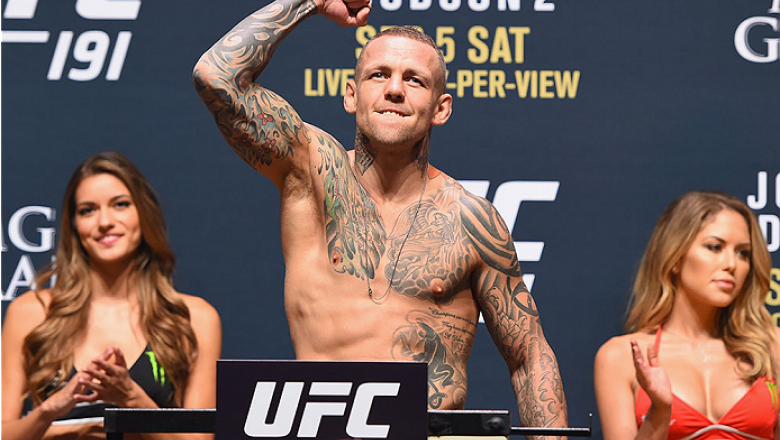 LAS VEGAS, NV - SEPTEMBER 04:  Ross Pearson steps onto the scale during the UFC 191 weigh-in inside MGM Grand Garden Arena on September 4, 2015 in Las Vegas, Nevada.  (Photo by Josh Hedges/Zuffa LLC/Zuffa LLC via Getty Images)