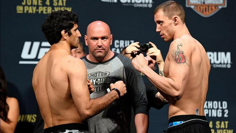 INGLEWOOD, CA - JUNE 03:   (L-R) Opponents Beneil Dariush of Iran and James Vick face off during the UFC 199 weigh-in at the Forum on June 3, 2016 in Inglewood, California. (Photo by Josh Hedges/Zuffa LLC/Zuffa LLC via Getty Images)