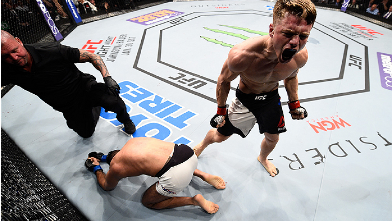 BOSTON, MA - JANUARY 17:  Chris Wade celebrates after his submission victory over Mehdi Bahgdad of France in their lightweight bout during the UFC Fight Night event inside TD Garden on January 17, 2016 in Boston, Massachusetts. (Photo by Jeff Bottari/Zuff