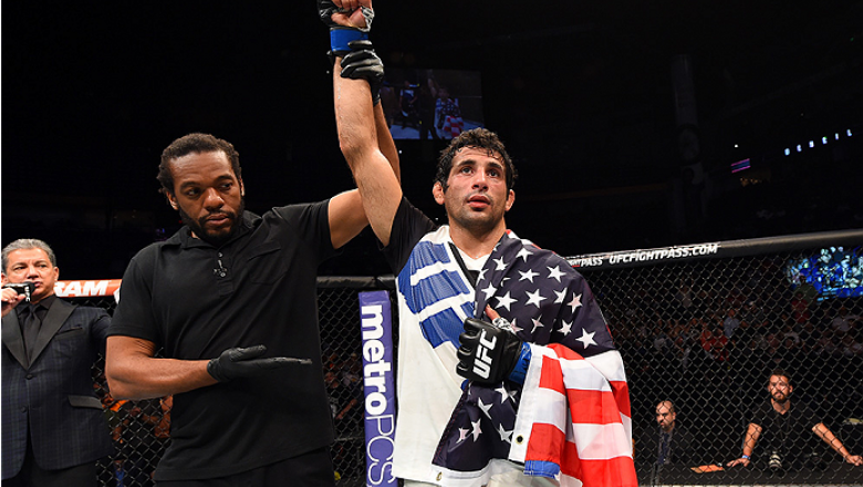 NASHVILLE, TN - AUGUST 08:  Beneil Dariush celebrates after defeating Michael Johnson in their lightweight bout during the UFC Fight Night event at Bridgestone Arena on August 8, 2015 in Nashville, Tennessee.  (Photo by Josh Hedges/Zuffa LLC/Zuffa LLC via