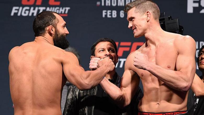 LAS VEGAS, NV - FEBRUARY 05:  (L-R) Opponents Johny Hendricks and Stephen Thompson face off during the UFC Fight Night weigh-in at the MGM Grand Conference Center on February 5, 2016 in Las Vegas, Nevada. (Photo by Josh Hedges/Zuffa LLC/Zuffa LLC via Gett