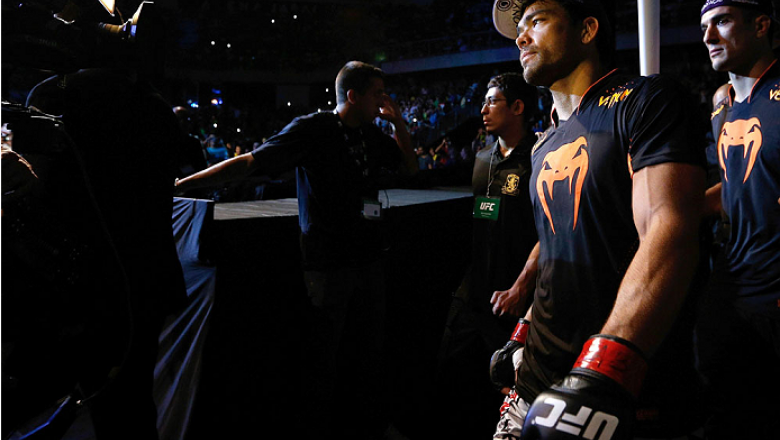 JARAGUA DO SUL, BRAZIL - FEBRUARY 15:  Lyoto Machida enters the arena before his middleweight fight against Gegard Mousasi during the UFC Fight Night event at Arena Jaragua on February 15, 2014 in Jaragua do Sul, Santa Catarina, Brazil. (Photo by Josh Hed