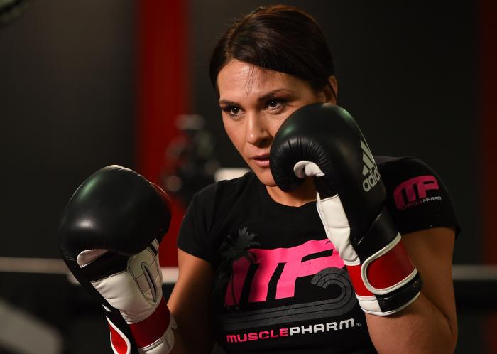 TORRANCE, CA - FEBRUARY 24:  Cat Zingano holds an open training session for fans and media at the UFC Gym on February 24, 2015 in Torrance, California. (Photo by Josh Hedges/Zuffa LLC via Getty Images)