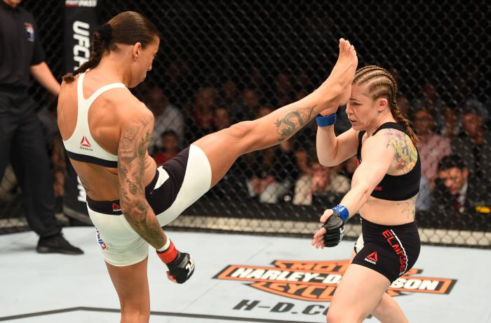 ROTTERDAM, NETHERLANDS - MAY 08:  (L-R) Germaine de Randamie kicks Anna Elmose in their women's bantamweight bout during the UFC Fight Night event at Ahoy Rotterdam on May 8, 2016 in Rotterdam, Netherlands. (Photo by Josh Hedges/Zuffa LLC via Getty Images)